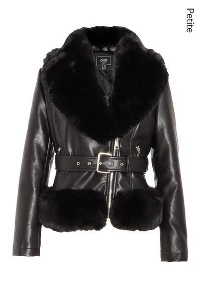 Petite Black Faux Fur Trim Biker Jacket